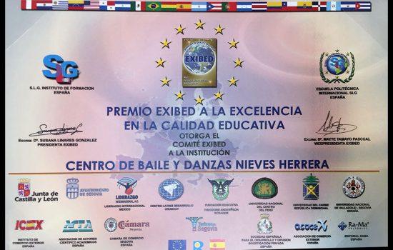 Premio a la excelencia en la calidad educativa | Escuela de Danza Nieves Herrera